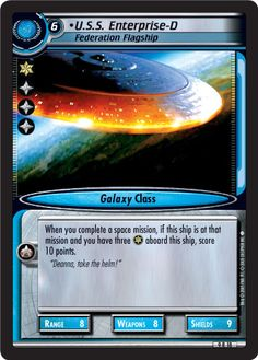 """""""•U.S.S. Enterprise-D, Federation Flagship"""" [9 R 18] from the STAR TREK CUSTOMIZABLE CARD GAME 2nd Edition by DECIPHER 