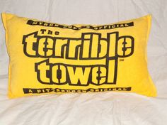 Black n Gold Terrible Towel pillow Pittsburgh by Dottiesstitches, $20.00
