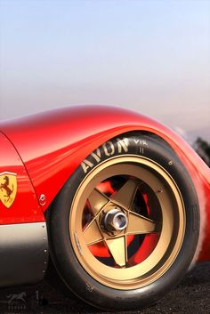 Campagnolo Ferrari 312p alloy rims with Avon tyres, 3D rendering