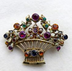 ANTIQUE 19thC. VICTORIAN AUSTRO-HUNGARIAN MULTI-GEM SILVER FLOWER BASKET BROOCH #AustroHungarian