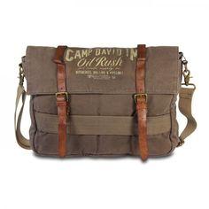 mynewbag.de - #CAMP DAVID Wolf Creek #Canvas & Leder #Messenger Bag mit Laptop Fach khaki
