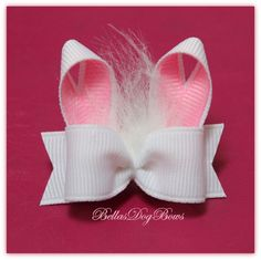 CHOICE - Bunny Rabbit Ears with Fluff Single Loop Easter Bow . Hair Ribbons, Diy Hair Bows, Ribbon Hair, Bow Hair Clips, Ribbon Bows, Barrettes, Hairbows, Ribbon Sculpture, Bow Tutorial
