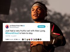 "Chance the Rapper says SoundCloud is 'here to stay,' after a report says its cash will run out in 50 days - Chance the Rapper — whose massively successful independent career arose from the free music he released on SoundCloud — tweeted Friday that he had a ""very fruitful call"" with SoundCloud CEO Alex Ljung. The call seemingly touched based on the company's reportedly dire financial situation.  ""@SoundCloud is here to stay,"" Chance tweeted, one day after tweeting that he was ""working on the…"