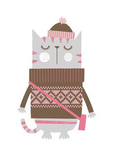Nursery art girl girls print set hipster cats by BubbleGumYears
