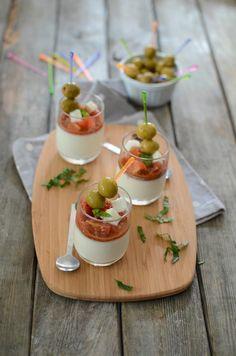 Panacotta de mozarella tomates et olives apéro