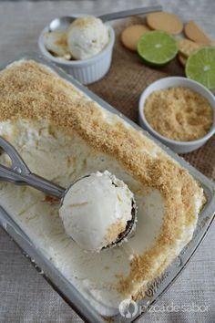 Helado pay de limón (pie de limón) sin máquina - no churn ice cream www.pizcadesabor.com