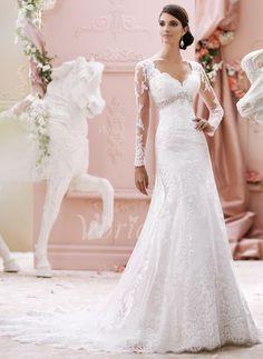 Bröllopsklänningar - $285.84 - Trumpet/Sjöjungfru Hjärtformad Chapel släp Tyll Spetsar Bröllopsklänning med Rufsar Pärlbrodering Applikationer Spetsar (0025060183)