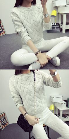 Dropped Shoulder Scoop 3/4 Sleeves Solid Pullover Sweater Cable Knit Sweaters, Pullover Sweaters, Modest Outfits, Casual Outfits, How To Purl Knit, Unique Dresses, Aliexpress, Sweater Fashion, Crochet Clothes