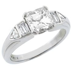 1960s GIA Certified 1.15ct Asscher Cut Diamond Ring | From a unique collection of vintage engagement rings at https://www.1stdibs.com/jewelry/rings/engagement-rings/