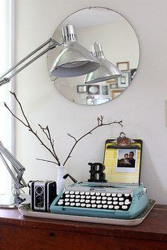 great typewriter and lamp