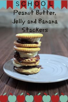 Peanut Butter and Jelly Banana Stackers - Back to School Snack - A Sparkle of Genius