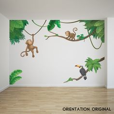 Jungle Monkey Children's' Wall Sticker Set | Etsy Jungle Wall Stickers, Childrens Wall Stickers, Vinyl Wall Stickers, Childrens Wall Murals, Jungle Bedroom, Kids Bedroom, Jungle Scene, Room Wall Painting, Murals For Kids