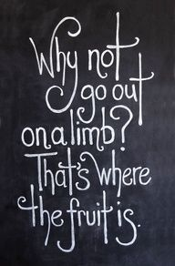Why not go out on a limb? That's where the fruit is. - Mark Twain