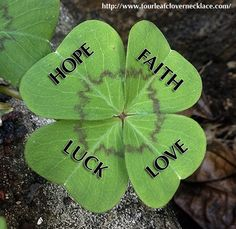Happy Saint Patrick's - Be Lucky 🍀 Four Leaf Clover Necklace, Adoption Party, Faith Hope Love, Good Luck, My Mood, Good Thoughts, Day, Clovers, Saint Patrick