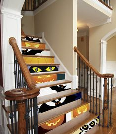 Decorate Your Stairs for Halloween - Paint or Stencil on Foam Board Panels