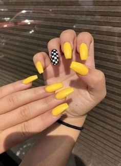 Yellow Nails Design, Yellow Nail Art, Yellow Artwork, Yellow Nail Polish, Purple Nail, Long Acrylic Nails, Acrylic Nail Art, Acrylic Nails Yellow, Acrylic Nails For Summer Coffin