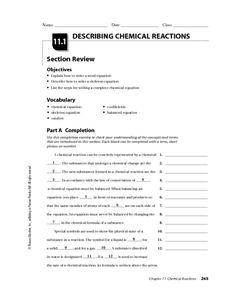 Types of Chemical Reaction Worksheet CH. 7 Name: Balance the ...