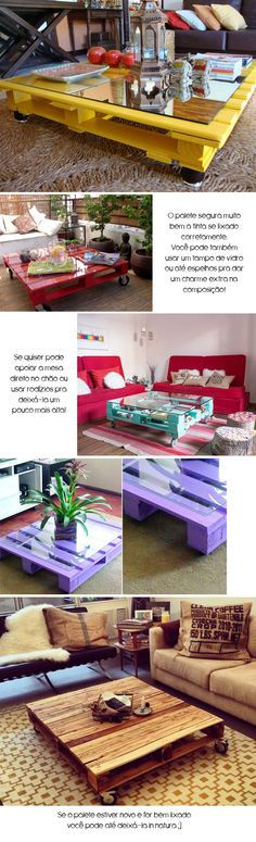 The Best DIY Wood and Pallet Ideas: Como fazer uma mesa de centro usando… paletes (ou . Pallet Crates, Wood Pallets, Decoration Palette, Diy Upcycling, Creation Deco, Diy Pallet Furniture, Pallet Ideas, Diy Room Decor, Diy Projects