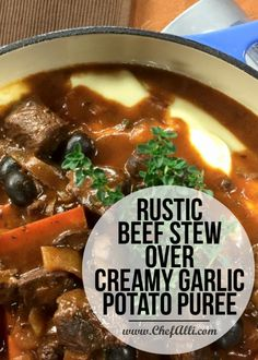 The Rise Of Private Label Brands In The Retail Meals Current Market Rustic Beef Stew Over Creamy Garlic Potato Puree Slow Cooker Recipes, Beef Recipes, Soup Recipes, Potato Recipes, Creamy Garlic Mashed Potatoes, Potato Puree, Quick Weeknight Meals, Soups And Stews, Cooking