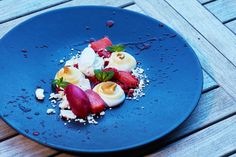 Chalet food. Hibiscus Lime & Mint Sorbet with Strawberry Compote & Italian Merangue
