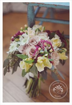 The recipe to make this exact bouquet is as follows:  11 Quicksand-hued roses  10 white scabiosa blooms,  5 stems of magenta amaranthus  3-5 stems of seeded eucalyptus  10 pale pink parrot tulips  3 branches of peach hypericum berries
