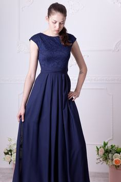 afcf44348dc Long navy blue bridesmaid dress with cap sleeves. Modest lace dress floor  length. Navy prom dress wi