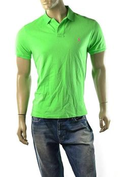 Polo Ralph Lauren Polo Shirt Mens Sueded Cotton Custom Fit Slim Size L NEW Green #