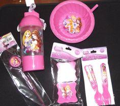 Disney Princess Dinnerware Lot Bowl Silverware Travel Sipper Straw Snack Contain