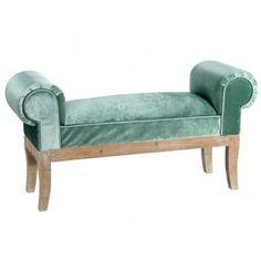 Banqueta con brazos tapizada en color oro, plata, verde o beige y patas de madera. Perfecta tanto para el dormitorio como para la entrada de casa.