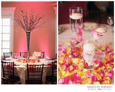 Pink, yellow, coral, wedding decor:)