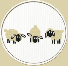 Three Sheep  PDF Downloadable Printable Cross Stitch Pattern
