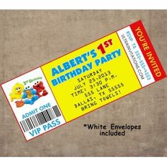 This ticket invitations with sesame street characters is a cool idea for birthday idea