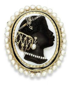 19th Century black and white agate cameo depicting a woman in profile, her earring and necklace set with diamonds and pearls, to the black enameled, textured gold and pearl surround, mounted in gold.