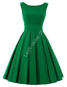 Zielona sukienka z plisowanym dołem | zielone sukienki, sukienka na wesele, studniówkę, komunie