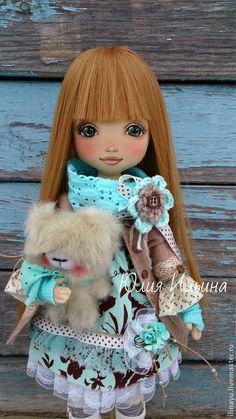 Купить Ксения - темно-бирюзовый, кукла интерьерная, кукла текстильная, кукла ручной работы
