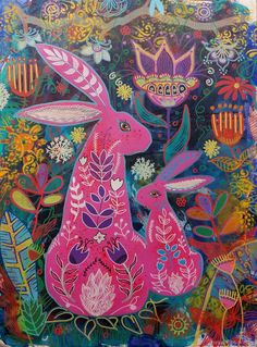 Tulip, The Single Mum by Magpiedesign Folk Art Flowers, Flower Art, Easter Illustration, Scandinavian Folk Art, Celtic Tattoos, Color Pencil Art, Naive Art, Design Crafts, Arts And Crafts