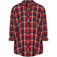 TOPSHOP Oversized Check Shirt (£41) ❤ liked on Polyvore featuring tops, shirts, flannel, blouses, red, checkered shirt, oversized shirt, red long sleeve shirt, red checkered shirt and long-sleeve shirt