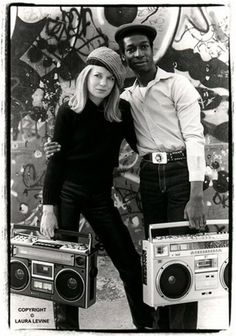 Tina Weymouth and Grandmaster Flash in NYC, 1981.  Before there was the ipod, the boombox was the status symbol