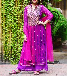 Purple Georgette Printed Stitched Salwar Kameez With Dupatta