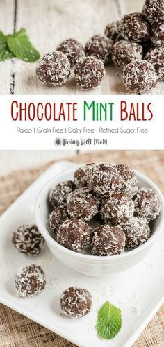 christmas snacks These Chocolate Mint Balls are addictively delicious and with no grains, dairy, or refined sugar, theyre a snack you can enjoy guilt-free. Plus they couldnt be easier to make! They make a wonderful Christmas cookie alternative treat too! Low Carb Dessert, Paleo Dessert, Dessert Recipes, Healthy Baking, Healthy Desserts, Raw Food Recipes, Diet Recipes, Healthy Food, Healthy Christmas Treats