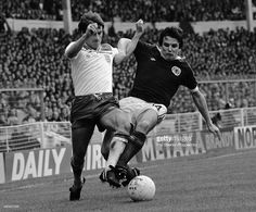 Scotland fullback Frank Gray tackles England winger Steve Coppell during the British Home...