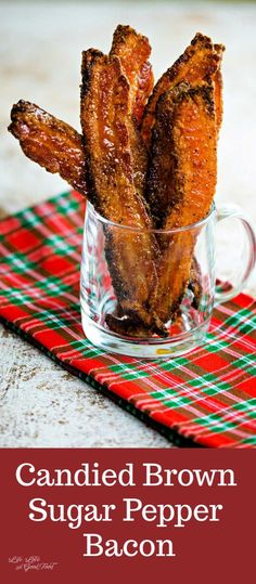 This Candied Bacon Recipe is made from thick-cut bacon coated with brown sugar and coarse-ground black pepper and bakes until it has a crispy sweet crust. Candied Bacon Recipe, Bacon Recipes, Brunch Recipes, Breakfast Recipes, Cooking Recipes, Drink Recipes, Dinner Recipes, Breakfast Dishes, Sweets Recipes