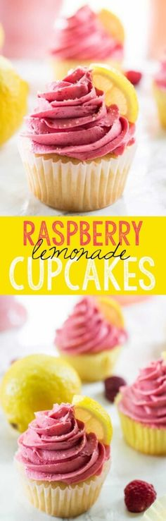 Scrumptious lemon cupcakes are topped with a tart delicious Raspberry Buttercream which make these Raspberry Lemonade Cupcakes a perfect… cupcakes decoration hochzeit ideas ideen recipes rezepte cupcakes cupcakes cupcakes No Bake Desserts, Just Desserts, Delicious Desserts, Dessert Recipes, Summer Cupcake Recipes, Raspberry Cupcake Recipes, Lemon Desserts, Raspberry Lemonade Cupcakes, Raspberry Buttercream
