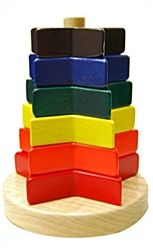 Tired of basic ring stackers?  Bright, colorful stars are a nice alternative.  A classic first puzzle for kids, Pure Play Toys Wooden Stacking Stars is made of sustainable maple wood, smooth sanded & finished in non-toxic colors.  Stack the six stars on or off the cone & develop motor skills, problem solving & color & pattern recognition.  A beautiful & durable toy made in America. http://www.pillypootnik.com/pure-play-toys-wooden-stacking-stars-baby-toy-p/pptw7010.htm #made_in_usa…