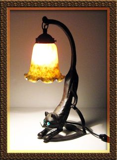 Art Nouveau-Iron-Cat-Lamp-Stained-Glass-and-Glass-Eyes-