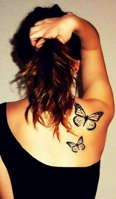 Black ink flying butterflies tattoo on back by batjas88