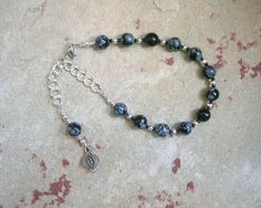 Persephone Prayer Bead Bracelet in Snowflake Obsidian: Greek Goddess of Spring, New Growth, Death and the Afterlife, Queen of the Underworld by HearthfireHandworks on Etsy