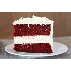 Red Velvet Cheesecake Cake ❤ liked on Polyvore featuring food