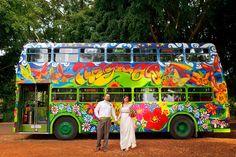 Roll Up to the magical wedding bus. Byron Bay Wedding