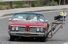 Mad Men star Jon Hamm & vintage Chrylser Imperial convertible with Camera Rig:
